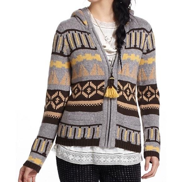 Anthropologie - Anthropologie Sparrow Fair Isle zip Hoodie sweater ...